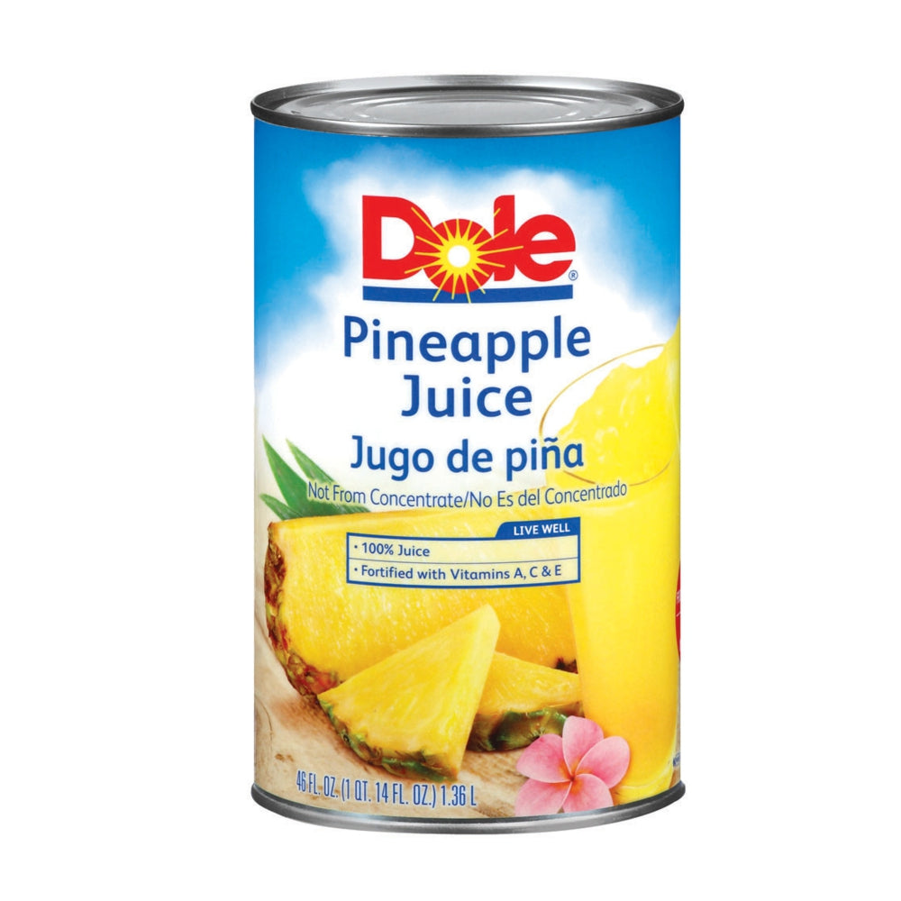 Dole 100% Pineapple Juice, Shelf-Stable, Can, 46 Fl Oz Can