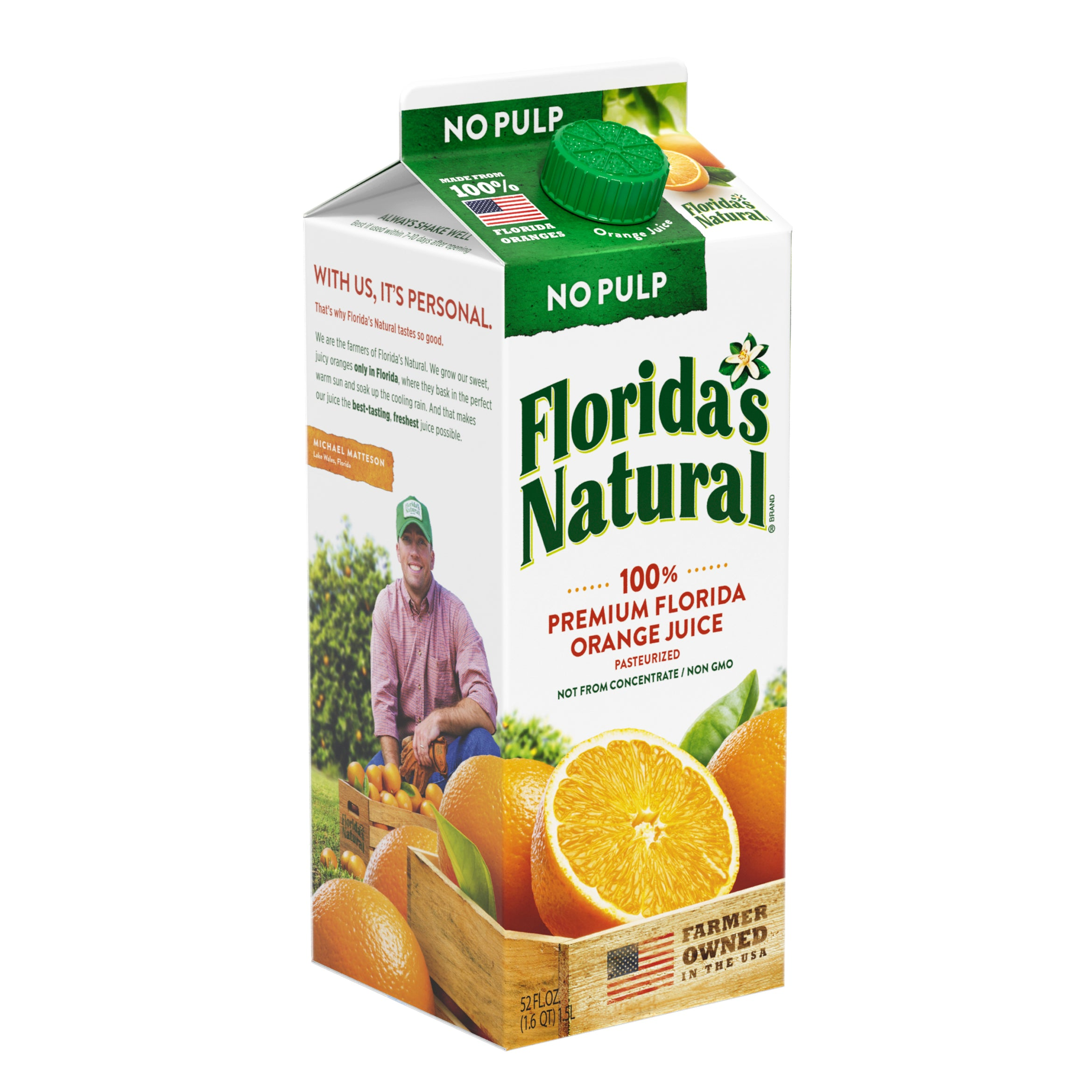 FLORIDA'S NATURAL 100% ORANGE JUICE NO PULP 52 OZ