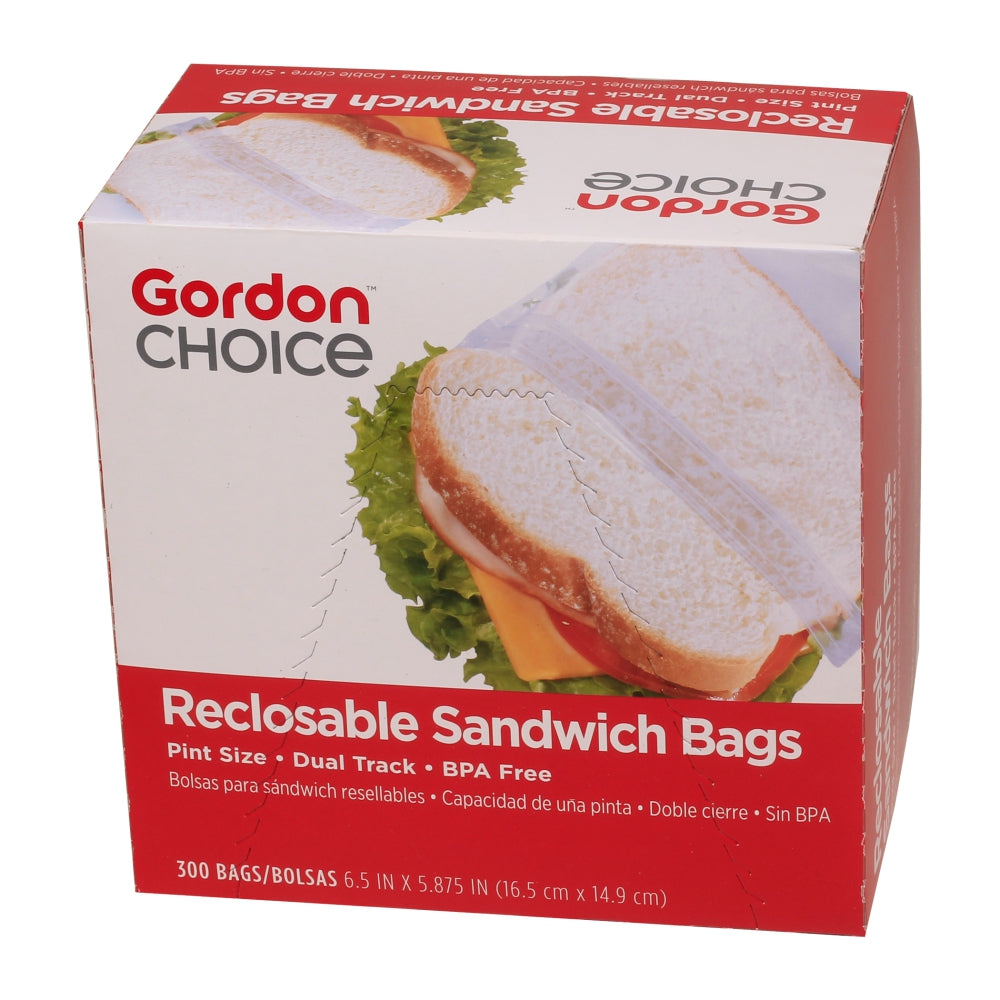 GFS 1 Pint Plastic Reclosable Sandwich Bags, Clear, 300 Ct Box