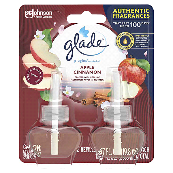 GLADE PLUGINS SCENTED OIL REFILL APPLE CINNAMON 1.34 OZ 2CT***SHIP TO ORDER BY EVERY SUNDAY ARRIVES THE NEXT WEEK'S TUESDAY FOR DELIVERY***