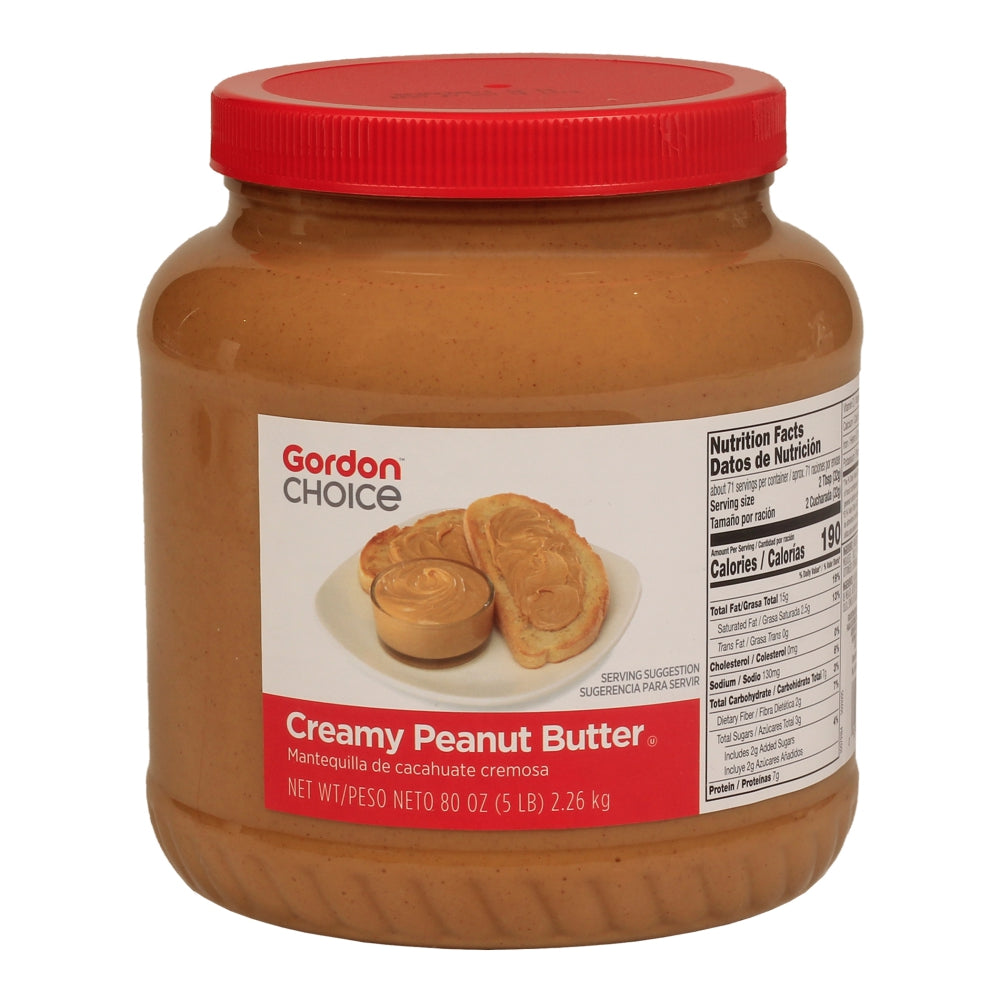 Gordon Choice Smooth Peanut Butter, 5 Lb Jar Case 6ea