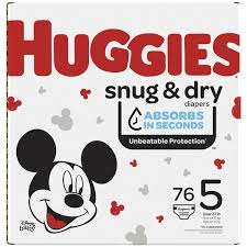 HUGGIES SNUG & DRY DIAPER SIZE 5 GIGA 76 COUNT***SHIP TO ORDER BY NOON MONDAY'S ARRIVING THE FOLLOWING MONDAY FOR DELIVERY***