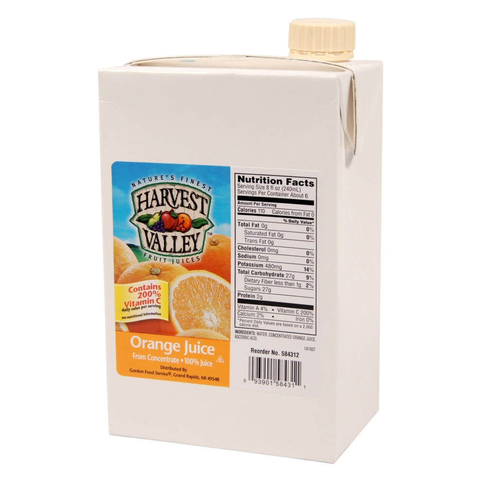 Harvest Valley 100% Pulp Free Orange Juice, Shelf-Stable, 46 Fl Oz Carton