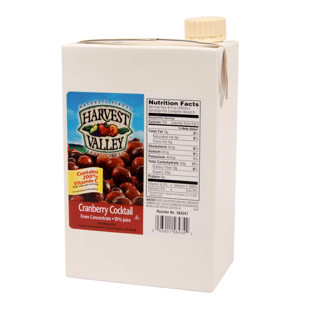 Harvest Valley 10% Cranberry Juice Cocktail, Shelf-Stable, 46 Fl Oz Carton