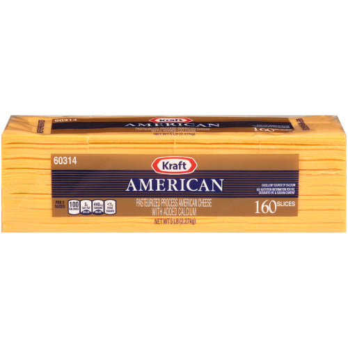 KRAFT AMERICAN CHEESE SLICES 160 CT 5 LB