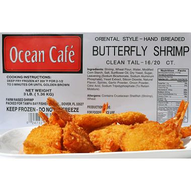 OCEAN CAFE BREADED BUTTERFLY SHRIMP RAW 16/20 3LB