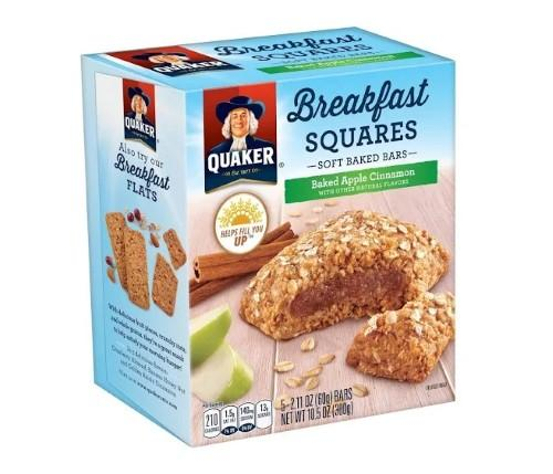 Quaker Breakfast Squares, Apple Cinnamon, 5  2.11oz Bars