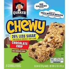 QUAKER CHEWY  CHOCLATE CHIP GRANOLA BARS 6.7 OZ, REDUCED SUGAR 25%