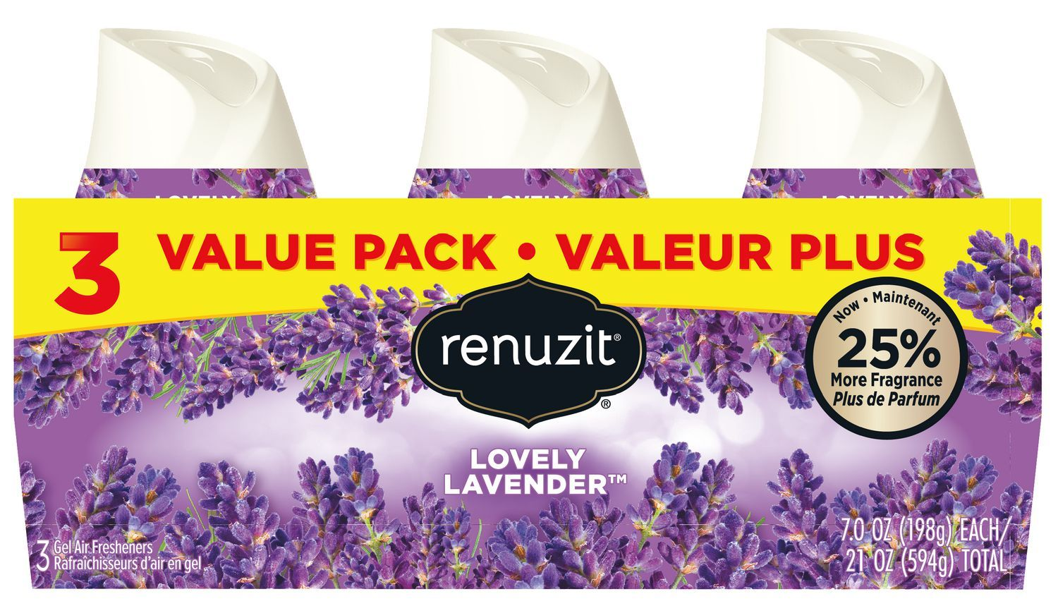 RENUZIT BLISSFUL LOVELY LAVENDER GEL AIR FRESHENER 3 PACK 7 OZ***SHIP TO ORDER BY EVERY SUNDAY ARRIVES THE NEXT WEEK'S TUESDAY FOR DELIVERY***