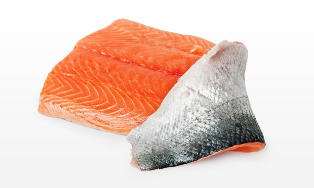 AST SALMON FILLETS SKIN ON BONELESS, IQF VAC SEALED ($5.89 P/LB)