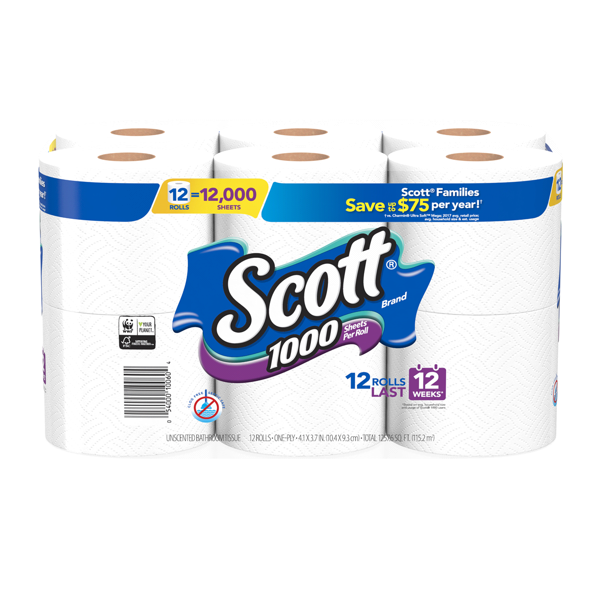 SCOTT 1000 SHEET PER ROLL BATH TISSUE TOILET 12 CT