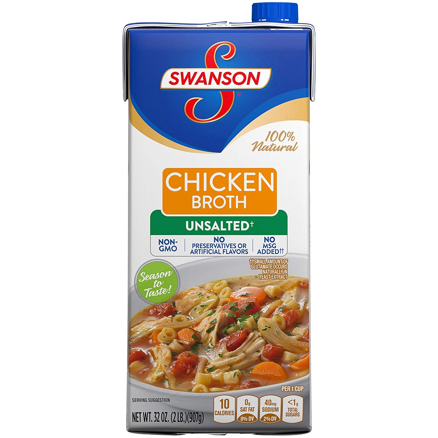 SWANSON UNSALTED CHICKEN BROTH 32 oz