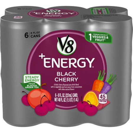 V8 +ENERGY BLACK CHERRY 8 OZ 6 PACK 4 COUNT***SHIP TO ORDER BY NOON ON MONDAY'S ARRIVING THE FOLLOWING MONDAY FOR DELIVERY***