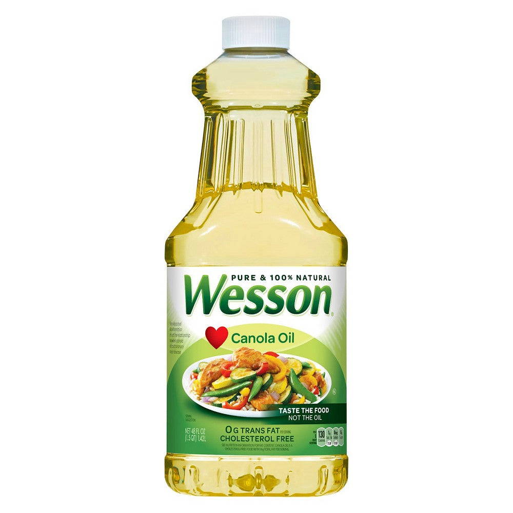 Wesson Pure 100% Natural Canola Oil 48 Oz