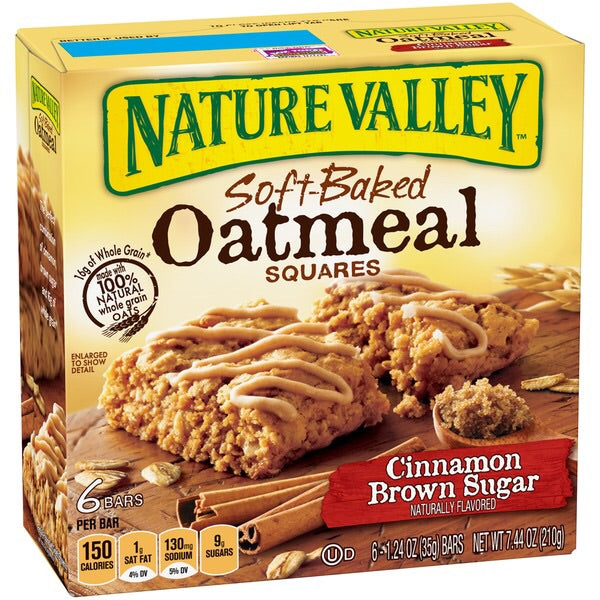 NATURE VALLEY SOFT BAKED OATMEAL SQUARES CINNAMON BROWN SUGAR 7.44 OZ