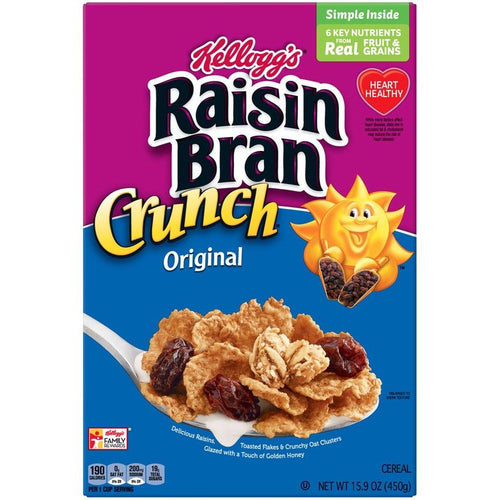 KELLOGS RAISIN BRAN CRUNCH BREAKFAST CEREAL 15.9 OZ