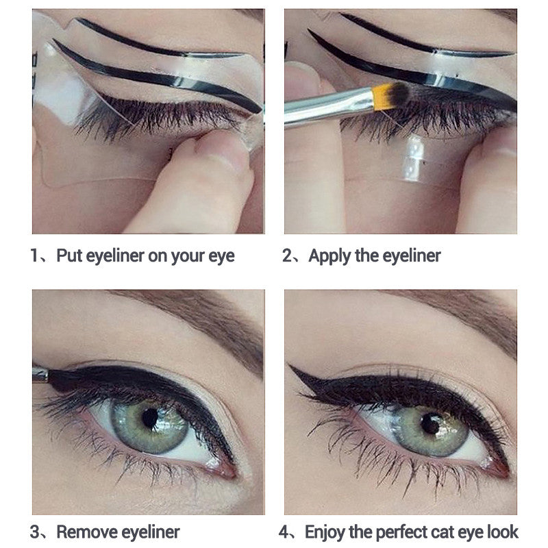 2 Pcs Cats Eyes Eyeliner Stencil 2 Sided Reusable Template