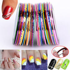 30 Pcs Mixed Color Nail Art Decoration Striping Tape
