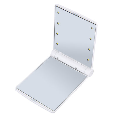 Portable Makeup Mirror - Foldable Compact Pocket Mirror With 8 LED Lights