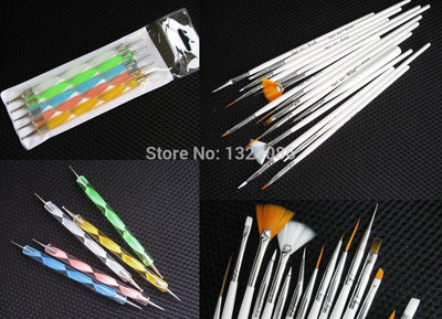 15 Pcs Nail Art Design Brushe Set + 5 Pcs Nail Art Dotting Set