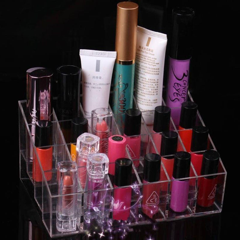 Makeup Organizer - 24 Clear Lattices Lipstick Or Nail Polish Stand ...