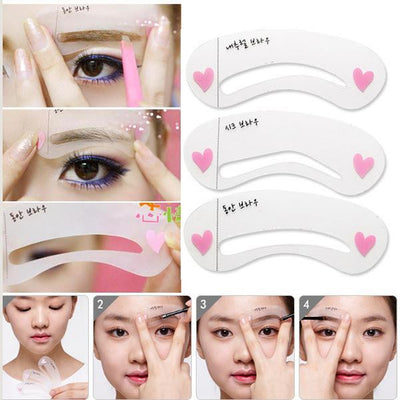 Eyebrow Grooming Stencil -  Eyebrow Template Shaping Kit - 3 Styles Per Set