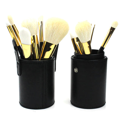 PU leather Vintage Makeup Brush Case With Secure Clips - 7 Styles