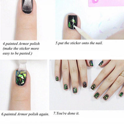 Broken Glass Mirror Foil Nail Art Stencil - 5 colors per set