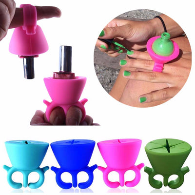 Silicone Nail Polish Bottle Holder - Flexible To Fit All Fingers - 4 Colors