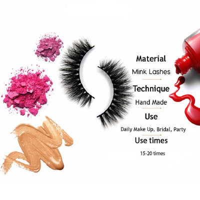 Mink 3D Hand Made Full Strip False Eyelashes - A01 to A09
