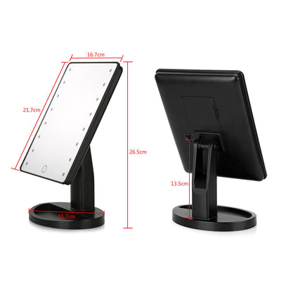 Touch Screen LED Makeup Mirror + Magnifier - 16 Lights Adjustable 180 Degree