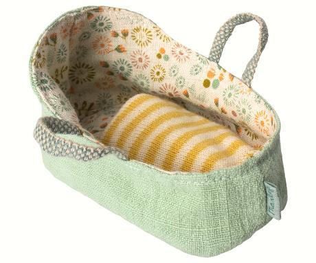 maileg carry baby cot in mint