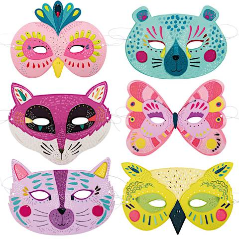Moulin Roty Les Broc & Rolls Set of 6 card masks for girls