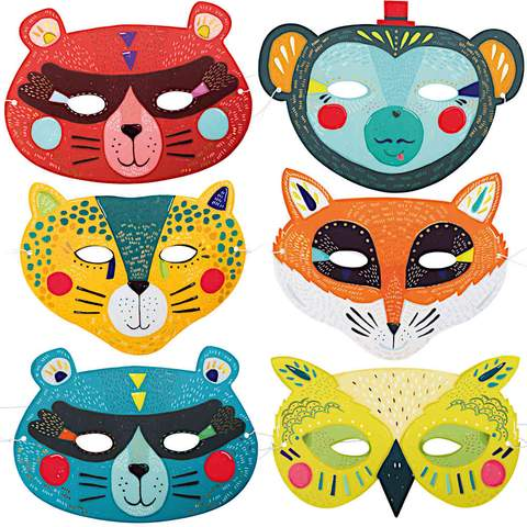 Moulin Roty Les Broc & Rolls Set of 6 card masks for boys - out of stock