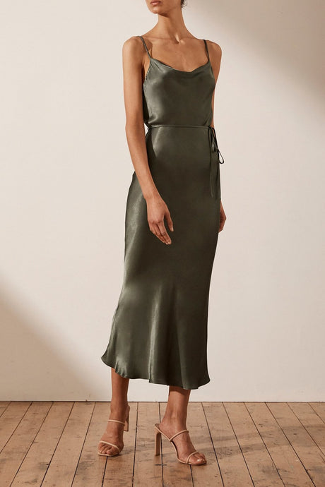 Shona Joy La Lune Bia Slip Dress Olive
