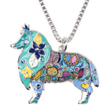 Artistic Enamel Collie Pendant Necklace