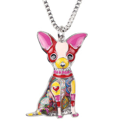 Artistic Enamel Chihuahua Pendant Necklace
