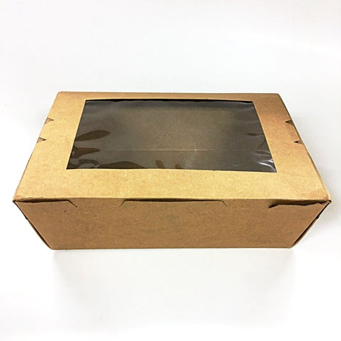 TAKEAWAY BOXES WITH WINDOW (With Printing) - Brown Card Malaysia Supplier Supplies2u.my