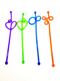 STIRRERS - Plastic 8 Inch ( Spiral with Design)