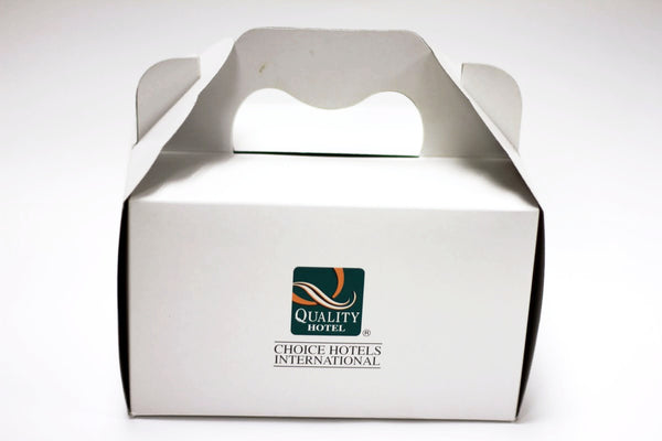 "CAKE BOXES With Handle - 6.5"" x 4.5"" x 3"" Inches (White or Brown Card)"