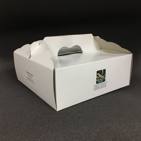 "CAKE BOXES With Handles - 12"" x 12"" x 4.5"" Inches (White or Brown Card)"