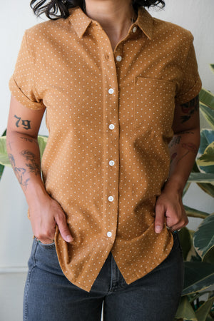 Bea Button-Up in Gold Polkadot