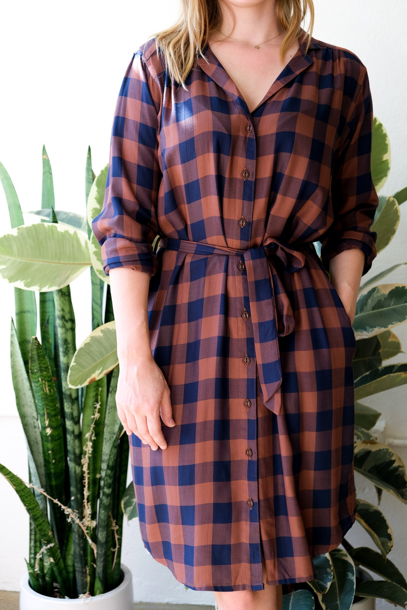 Emery Dress in Navy-Rust Gingham