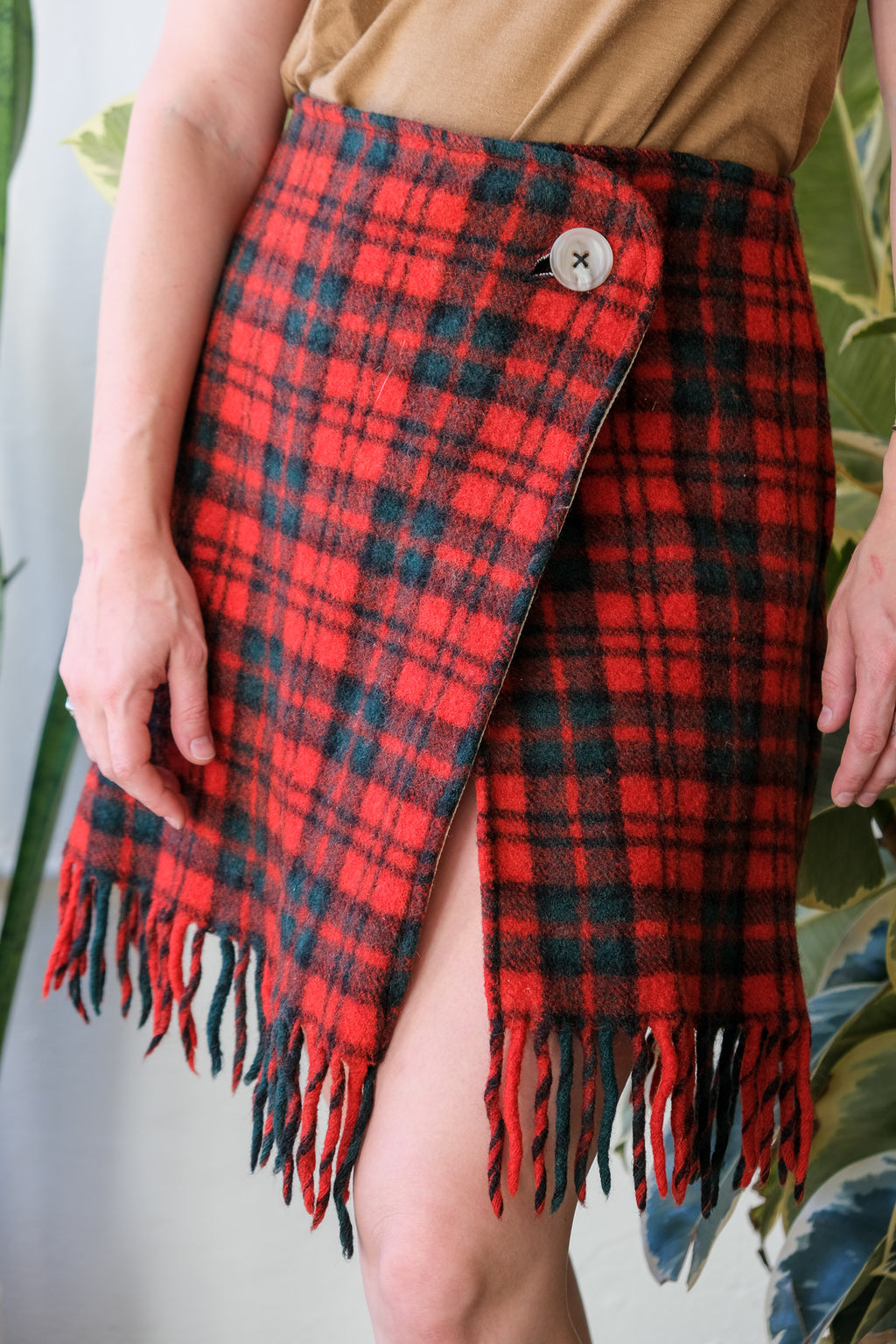 OOAK Wool Wrap Skirt - Red Plaid