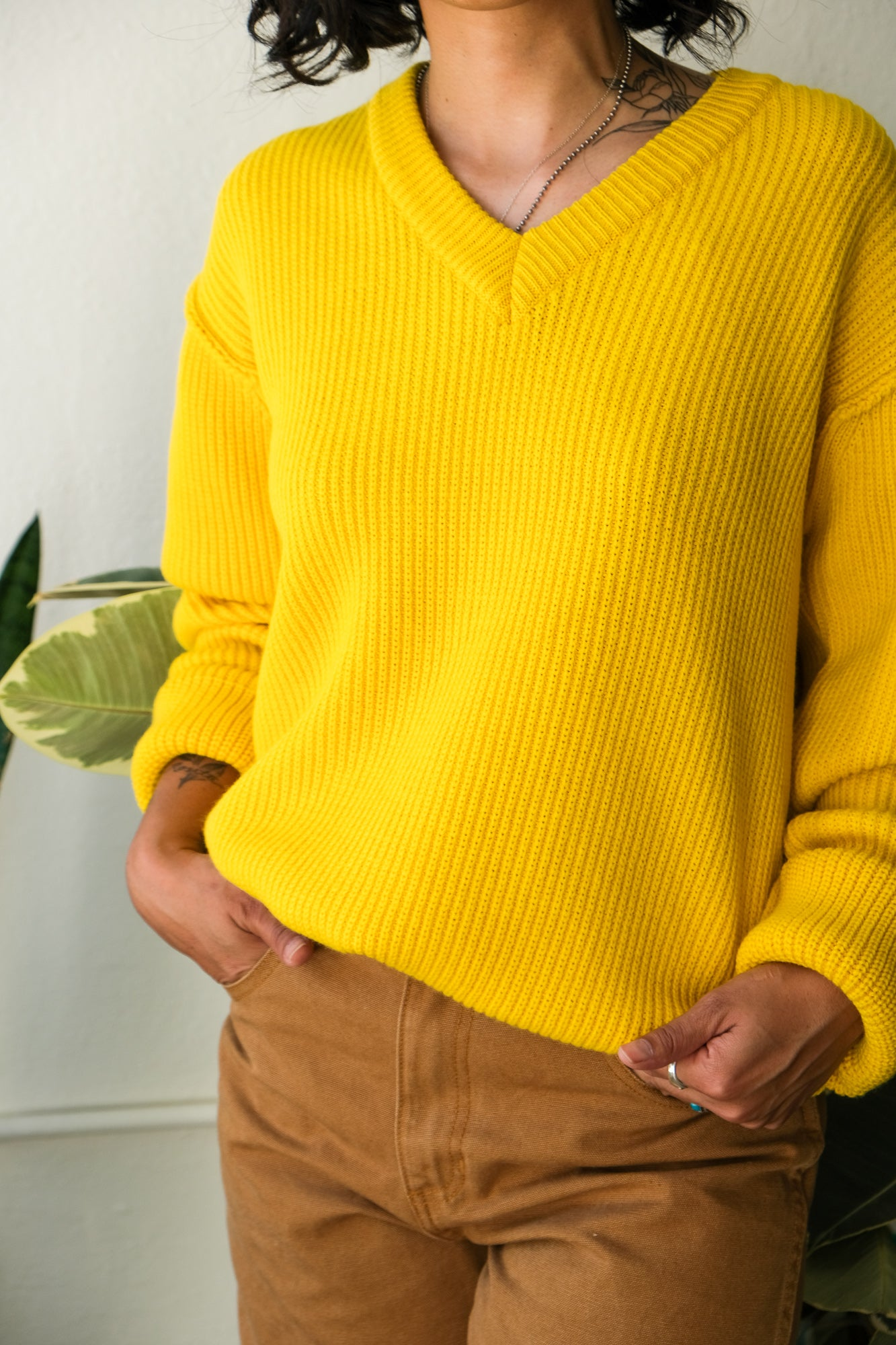 Oversized V-Neck Sweater in Lemon