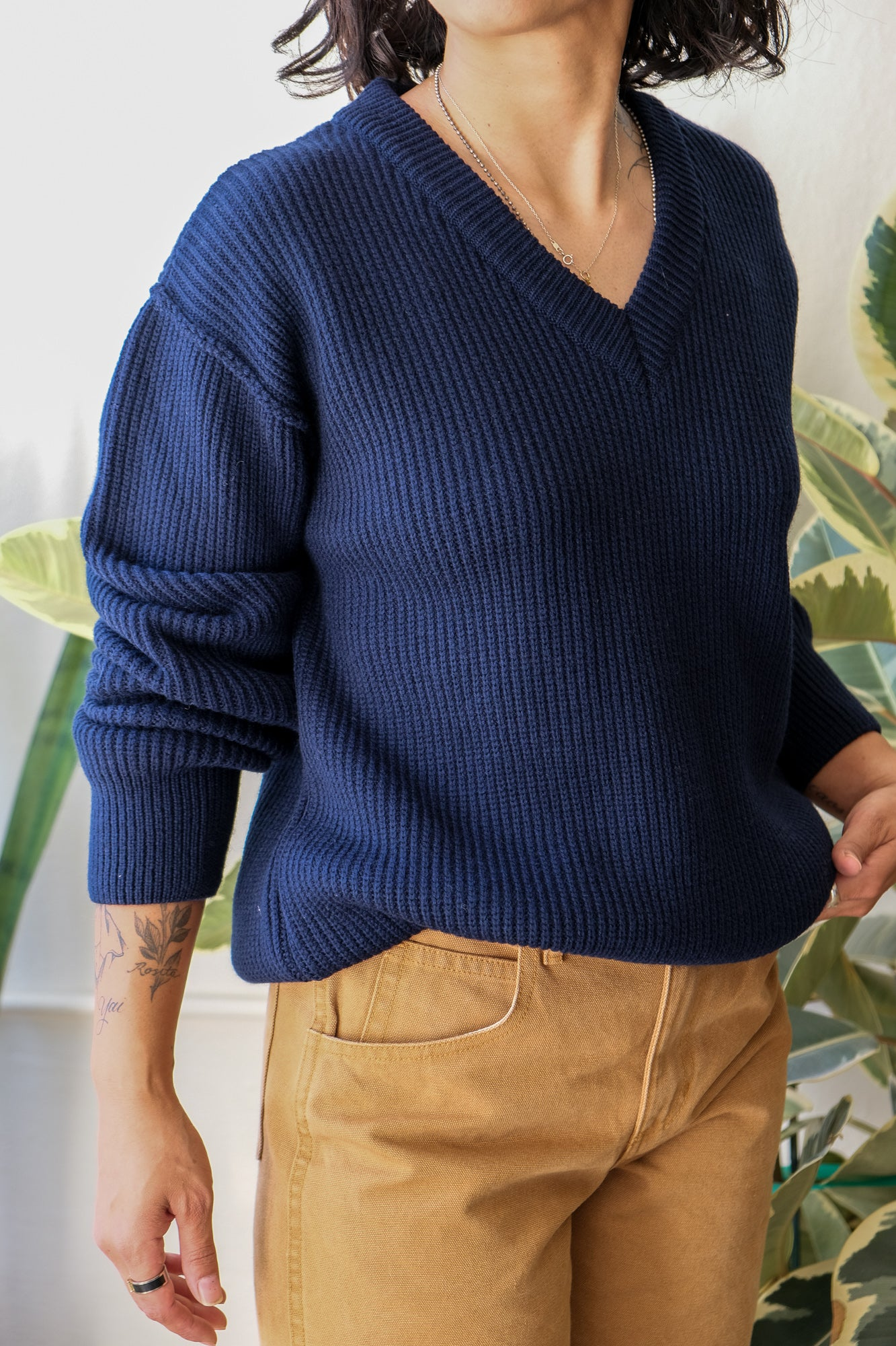 Oversized V-Neck Sweater in Navy