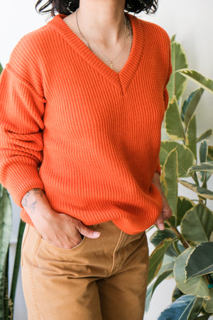 Oversized V-Neck Sweater in Orange