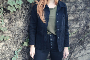 Triangle Pocket Jacket in Washed Black