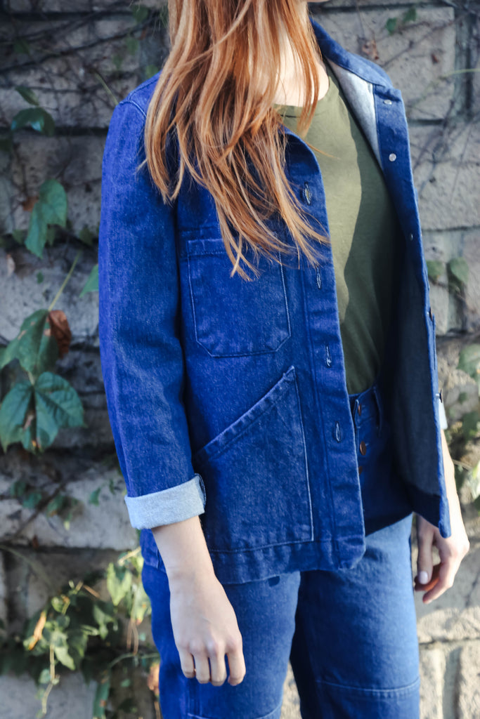 Carleen Triangle Pocket Jacket in Blue
