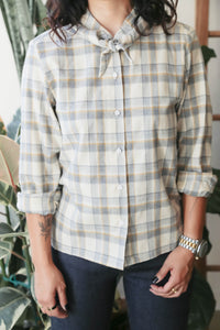 Bandana-Neck Shirt in White Plaid